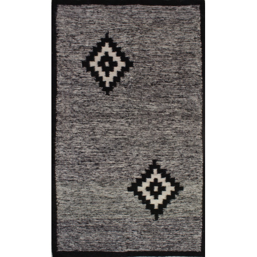 Speckled traditional black and white kilim rug