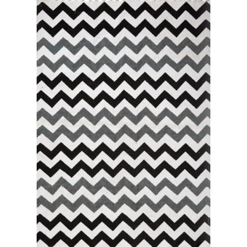 Scandinavian black and gray zigzag rug