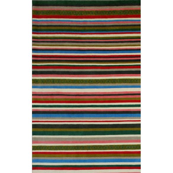 Chic multicolored striped kilim rug