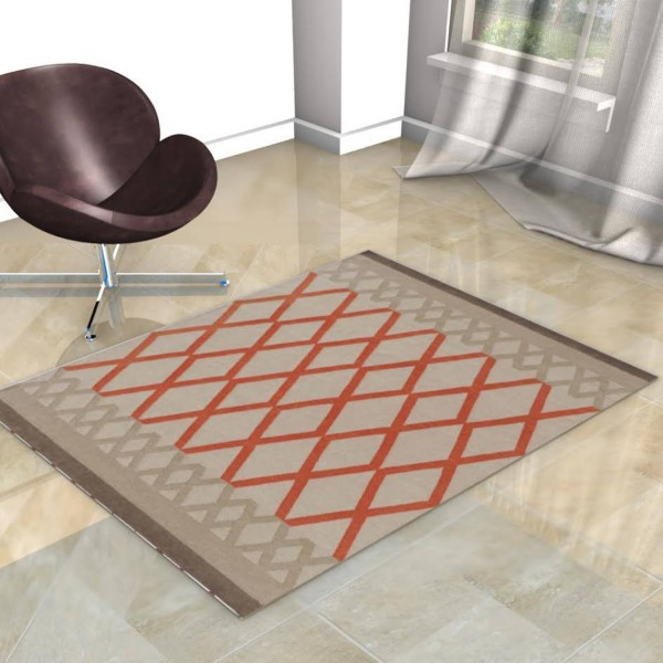 KILIM MARGOOM BEIGE RUG WITH ORANGE diamond