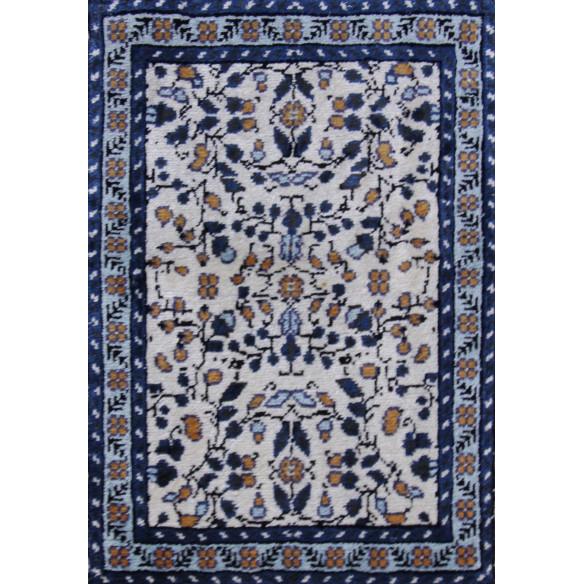 Tableau bleu motifs jasmin en soie