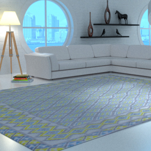 Margoom carpet traditional yellow and blue pattern