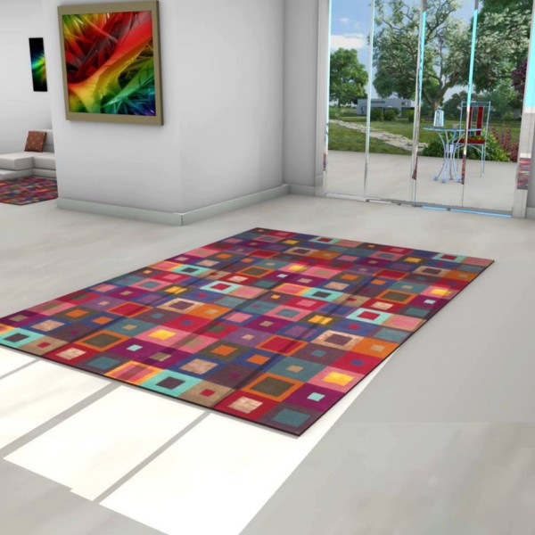 MULTICOLORED SCANDINAVIAN CARPET WITH SQUARE PATTERNS