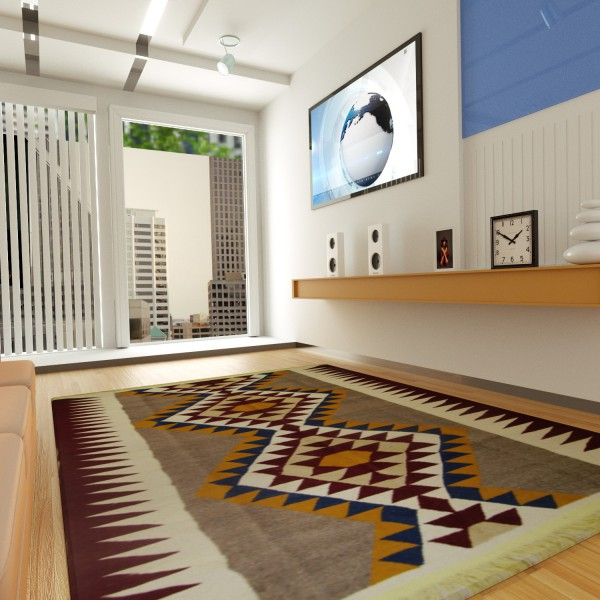 CONTEMPORARY RED KILIM MAT WITH PATTERNS
