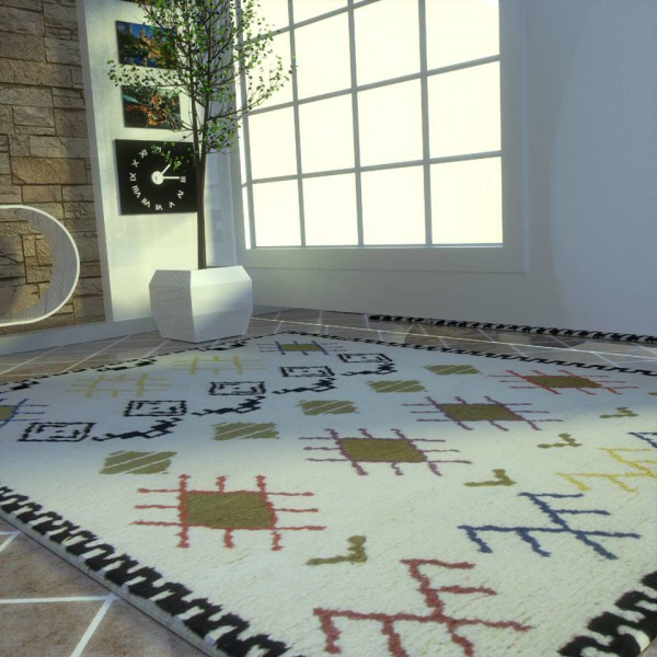 Authentic white Berber style carpet with black border