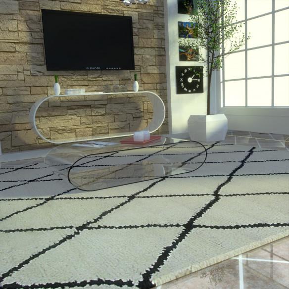 berber rug black rhombus