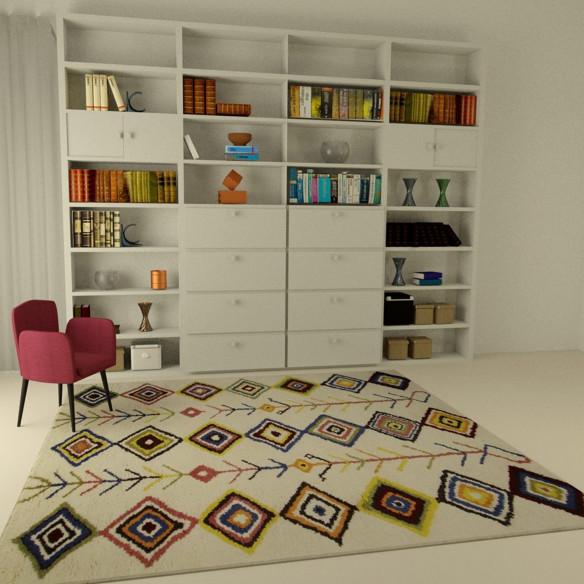 Tapis berbère multicolore chic motif losanges