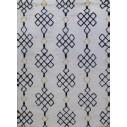 Tapis berbère en laine fond blanc et motif noir et jaune