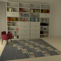 tapis kilim bleu motif traditionnel