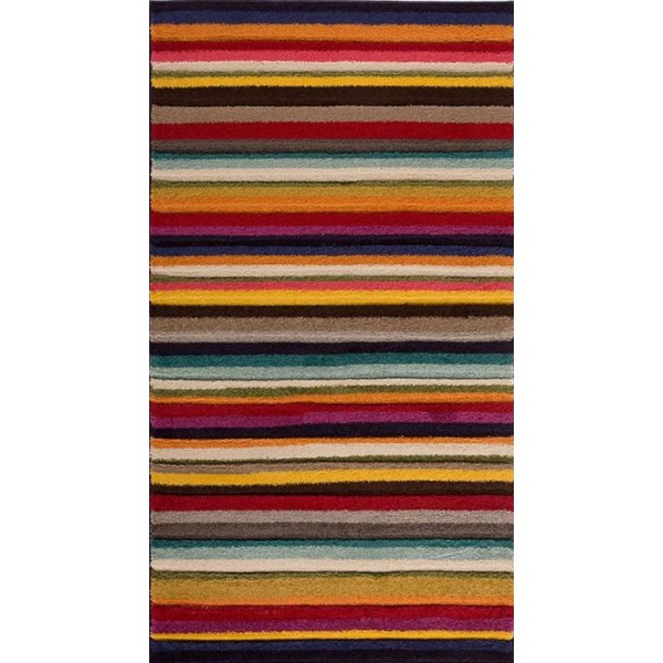 Colorful and speckled striped kilim rug