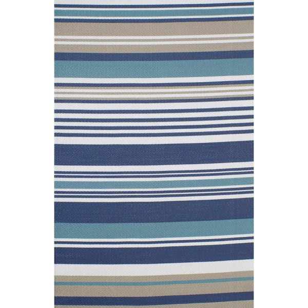 Kilim carpet striped mix of tricolor blue