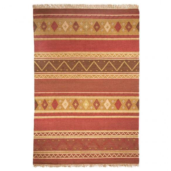 Brick red striped multicolored kilim rug